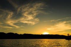 Заход солнца на озере LuGu Стоковые Изображения