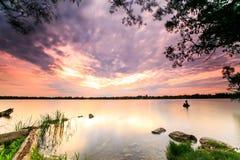 Заход солнца на озере Wilcox Стоковое Изображение RF