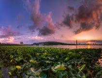 Заход солнца на озере Xuanwu Стоковое Фото