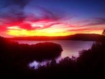 Заход солнца над озером бобр Стоковая Фотография