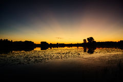 Заход солнца над озером Джонни Стоковая Фотография RF