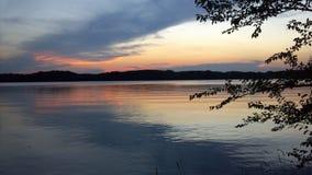 Заход солнца над озером Стоковое фото RF