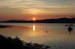 Заход солнца над озером Creran Шотландией Стоковое фото RF