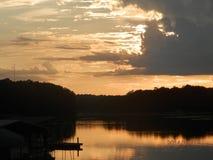 Заход солнца над озером Eufaula Стоковая Фотография
