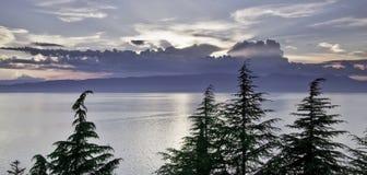 Заход солнца над озером Ohrid в Makedonia Стоковые Фото