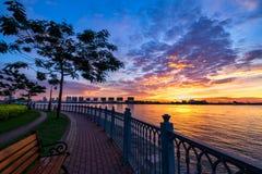 Заход солнца на доме Nha Rong Стоковое фото RF