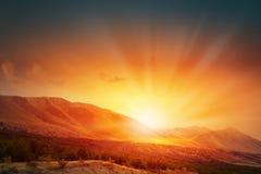 Заход солнца над дорогой Стоковое фото RF