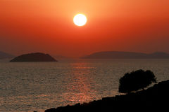 Заход солнца на островах Kornati, Хорватии Стоковое Изображение