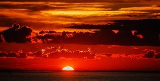 Заход солнца на острове блока Стоковые Фото