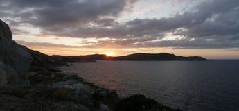 Заход солнца на острове Корсики, Calvi Стоковые Изображения