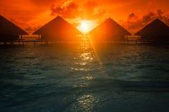 Заход солнца на острове Мальдивов Стоковые Фото
