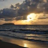 Заход солнца на острове Порту Santo, Португалии Стоковое Фото