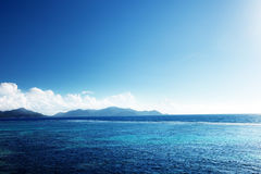 Заход солнца на острове Digue Ла Стоковые Изображения RF
