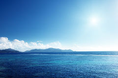 Заход солнца на острове Digue Ла Стоковое Изображение RF