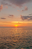 Заход солнца на острове Grand Cayman, Каймановых островах Стоковое Изображение