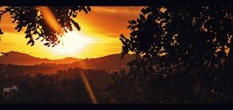 Заход солнца на острове ibiza Стоковое Изображение