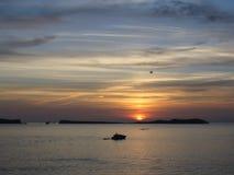 Заход солнца на острове ibiza Стоковые Фото