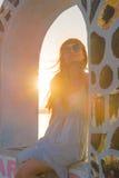 Заход солнца на острове Santorini Стоковое Изображение