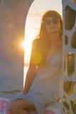 Заход солнца на острове Santorini Стоковая Фотография
