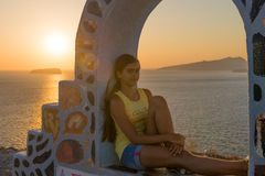 Заход солнца на острове Santorini Стоковая Фотография RF