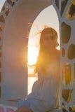 Заход солнца на острове Santorini Стоковое Фото