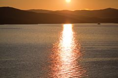 Заход солнца над островом Olkhon Стоковое Изображение