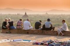 Заход солнца над пагодами Bagan Стоковые Изображения RF