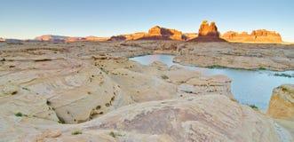 Заход солнца на пакостном реке дьявола на каньоне Глена, UT стоковое изображение rf