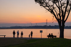 Заход солнца на парке Стоковое фото RF