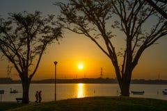 Заход солнца на парке Стоковая Фотография