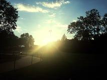 Заход солнца на парке Стоковое Изображение RF