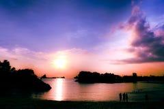 Заход солнца на песке залива Марины Стоковое Изображение RF