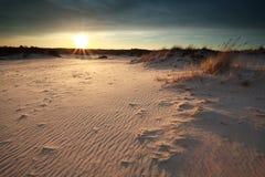 Заход солнца над песчанными дюнами Стоковые Изображения