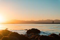 Заход солнца на побережье, Нелсон NZ Стоковые Фото
