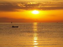 Заход солнца на побережье Черногории Стоковые Фото