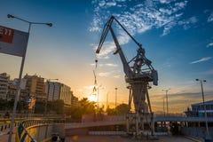 Заход солнца на порте Пирея Стоковые Изображения