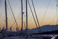 Заход солнца на порте Стоковые Фотографии RF