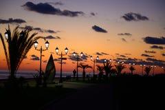 Заход солнца на портовом районе Стоковая Фотография RF