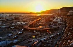 Заход солнца над портом Дувра Стоковая Фотография RF