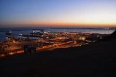 Заход солнца над портом Дувра Стоковые Изображения