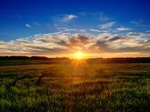 Заход солнца над полем в Польше Стоковое фото RF