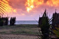 Заход солнца на полуострове Kalpitiya Стоковые Фото