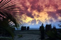 Заход солнца на полуострове Kalpitiya Стоковые Изображения RF