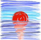 Заход солнца на предпосылке моря, иллюстрация вектора Стоковое Фото