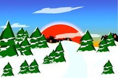 Заход солнца над предпосылкой шаржа леса зимы Стоковое Изображение RF