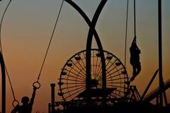 Заход солнца на пристани Санта-Моника, Калифорнии, США Стоковая Фотография RF