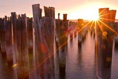 Заход солнца на пристани Стоковая Фотография