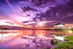 Заход солнца на причаливать Стоковые Фото