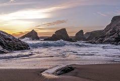 Заход солнца на приливе Стоковая Фотография RF