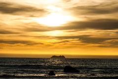 Заход солнца над проливом кашевара стоковые фото